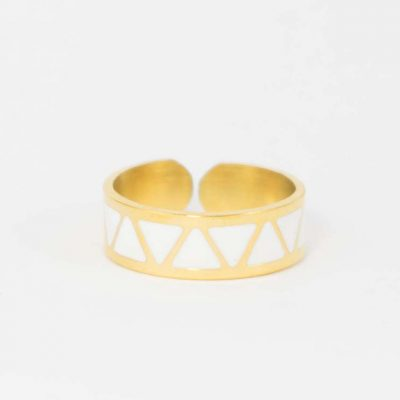 bague or blanc triangle