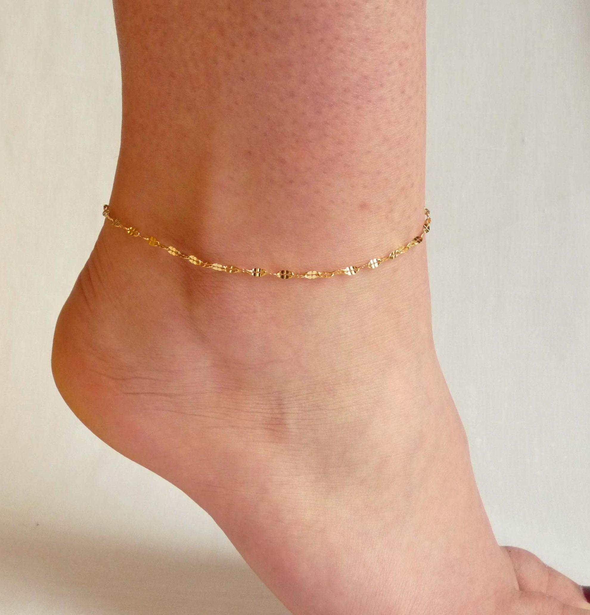 Chaîne bracelet de cheville maille imbriquée, acier inoxydable doré