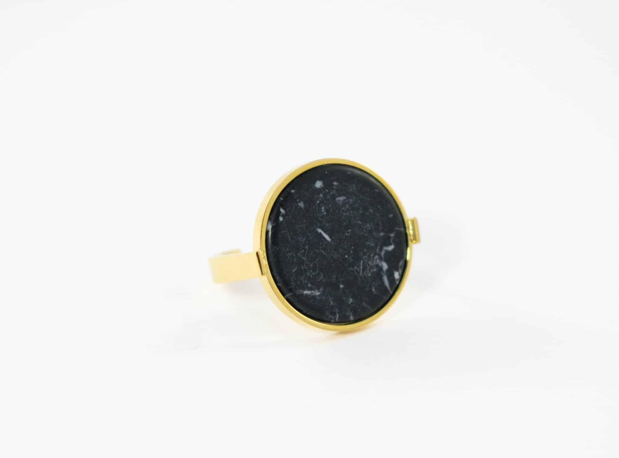 Connu Bague pierre semi précieuse naturelle noire ronde, acier  QG06